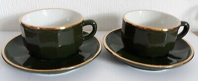 £17.75 • Buy 2  X  APILCO GREEN & GOLD MEDIUM COFFEE TEA CUPS AND SAUCERS FRENCH BISTRO WARE