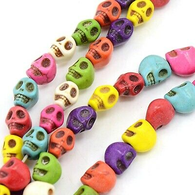 £2.05 • Buy Skull Natural Howlite Mixed Beads 8 X 6 X 7mm X Approx 48 Pieces Halloween