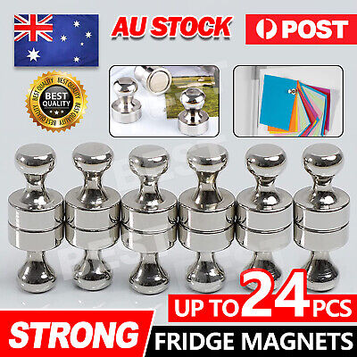 AU16.45 • Buy Up To 24x Strong Fridge Magnets Neodymium Magnetic Crafts Whiteboard Push Pins