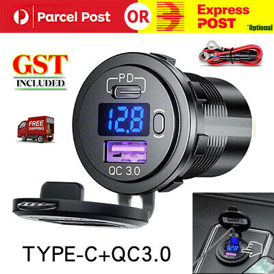 AU19.52 • Buy 12V 24V Type-C PD+USB Charger Socket Adapter Power Outlet For Car Motorcycle A+