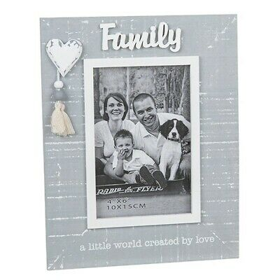 £9.50 • Buy Family Is A Little World Created By Love Grey Tassel Photo Frame 6x4 - Xmas Gift