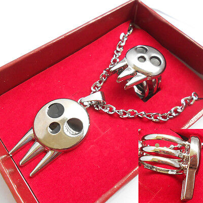 £8.99 • Buy Anime Soul Eater Death The Kid Ring Inspired Pendant Necklace + Ring Set New