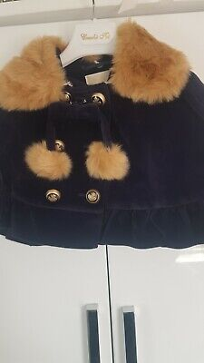 £25 • Buy Girls Couche Tot Navy Pancho Style Coat With Fur Collar An Matching Hat Age 4-5