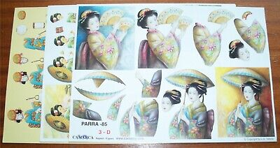 £1.99 • Buy Oriental Decoupage X 3 Different Pictures