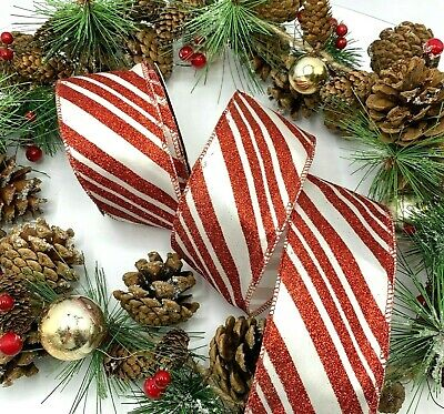 £2.95 • Buy 2.5  Wire Edge Candy Stripe Ribbon Cane Christmas Xmas Bow Wreath BY THE METRE