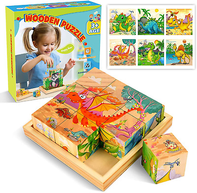 £12.78 • Buy Wooden Toys For 2 3 4 5 6 7 8 Year Old Boys Girls, Wooden Puzzle Dinosaur Toys