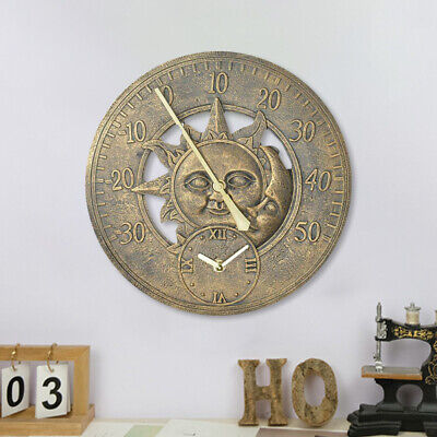 £19.95 • Buy Retro Outdoor Indoor Garden Wall Station Clock Thermometer 12 Inch Sun And Moon