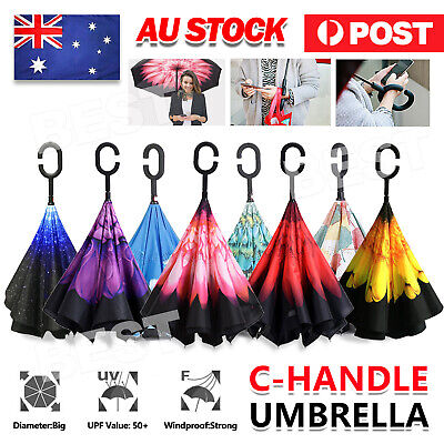 AU16.95 • Buy Windproof Upside Down Reverse Umbrella Double Layer Inside-Out Inverted C-Handle