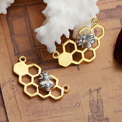 £1.85 • Buy Bee Honeycomb Connector Charms Silver Gold Plated Pendant Bumble Honey Pack Of 4
