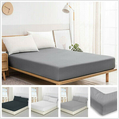 AU16.99 • Buy Extra Deep Poly Cotton Fitted Sheet Bed Set For Mattress Double Queen King Size