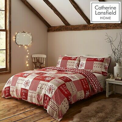 £19.79 • Buy Catherine Lansfield Let It Snow Nordic Christmas Duvet Cover Bedding Set Red