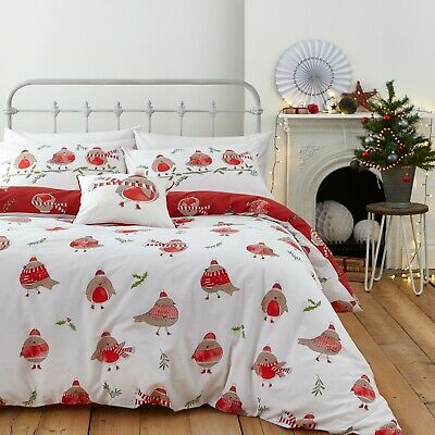 £15.29 • Buy Catherine Lansfield Robins Reversible Christmas Xmas Duvet Cover Bedding Set Red