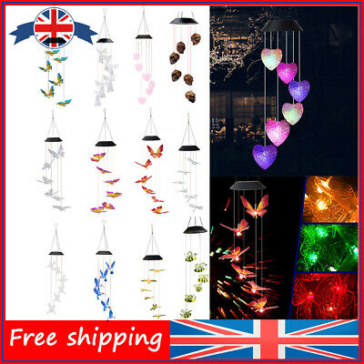 £7.19 • Buy Solar Colorful Wind Chime Lamps Waterproof Garden Light Outdoor Hanging Decor