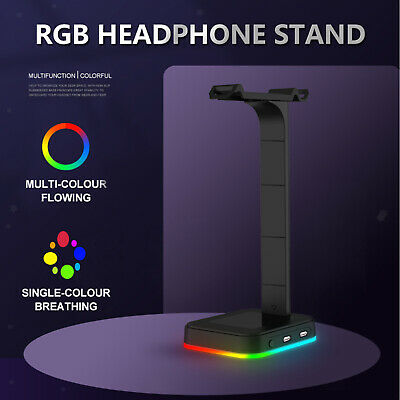 AU26.76 • Buy RGB Gaming Headset Holder Hanger Headphone Stand With 2 USB Ports For Gamers