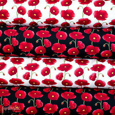 £7.90 • Buy Large Poppy Floral Print Cotton Poplin - Floral Poppies Sewing Remembrance Day