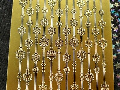 £1.60 • Buy Peel Off Craft Stickers Christmas Gold Foiled Snowflake Border Straight