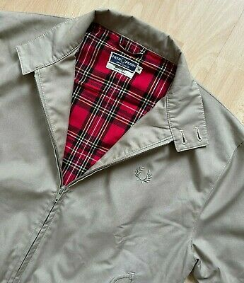 £85 • Buy FRED PERRY REISSUES MADE IN ENGLAND BEIGE TARTAN LINED HARRINGTON JACKET S Mod