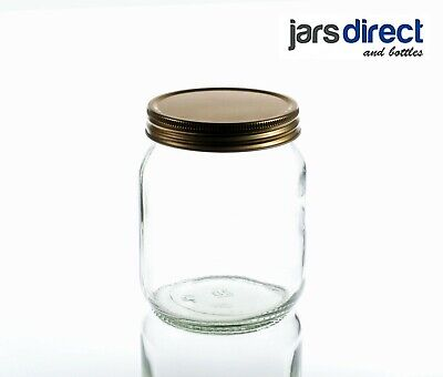 £14.95 • Buy 1lb Traditional Glass Round Honey Jars With 70mm Gold Screw Lids