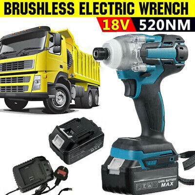 £39.99 • Buy 18V Brushless Cordless Impact Wrench 1/2  Driver Replace With Battery Charger UK