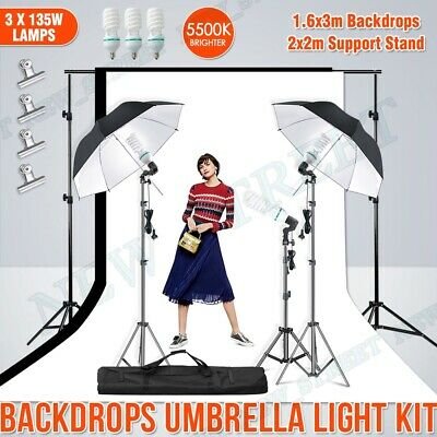 AU99.98 • Buy Photography Umbrella Continuous Lighting+3x Light Stands+2 Backdrops Support Set