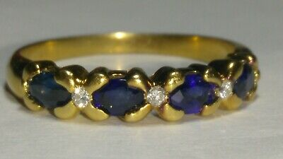 AU370.40 • Buy Solid 18k Gold Natural Sapphire And Diamond Ring 4.42 Grams - Sz 9.5