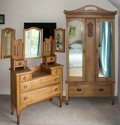£250 • Buy Antique Pine Dressing Table And Wardrobe - Victorian Or Edwardian