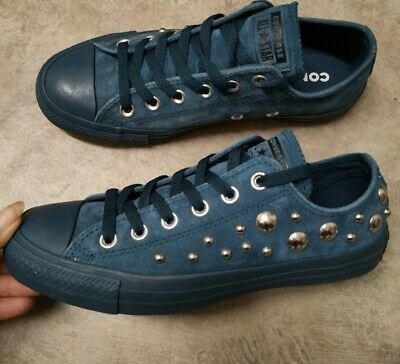 £25.99 • Buy BNWOB Converse All Star Low Lace Up Trainers UK Size 5 EU 37.5 Blue Studded