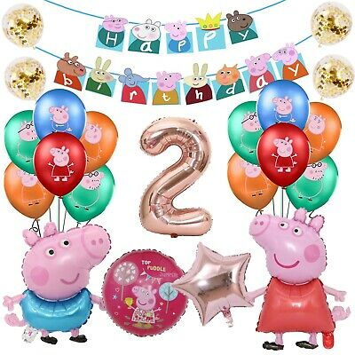 £14.99 • Buy Peppa Pig George Balloons Pacakge Banner Number Birthday Party Foil Kids Decor