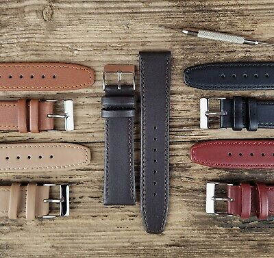 £9.95 • Buy Soft Touch Calf Leather Flat End Watch Strap Band 18mm 20mm 22mm & XL Sizes