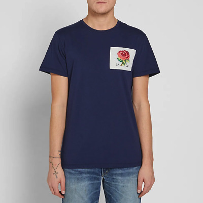 £34.95 • Buy KENT & CURWEN Mens T-Shirt Casual Crew Neck Rose Chest Patch NAVY BLUE Top Size