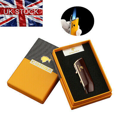 £14.99 • Buy Cohiba Metal Windproof Cigar Lighter 3 Jet Flame Torch With Cigar Punch Gift Box
