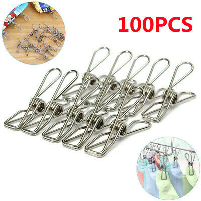 £7.99 • Buy Stainless Steel Washing Line Clothes Pegs Hang Pins Metal Clips Clamps UK