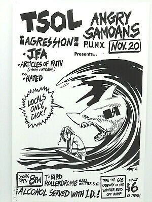 $14.95 • Buy Tsol Angry Samoans 1982 Classic Punk Concert Poster The T-bird Rollerdrome