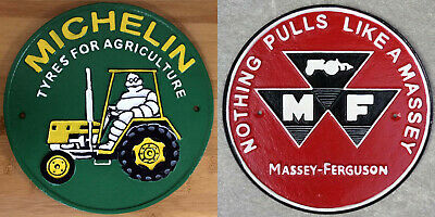 £32.95 • Buy Tractor Signs X2 Massey Ferguson + Michelin Tyres Plaques Cast Iron Repro 24cm