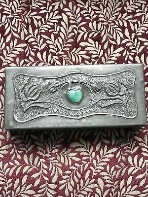 £55 • Buy Beautiful Pewter Arts And Crafts/ Nouveau Box With Gorgeous Green Cabachon