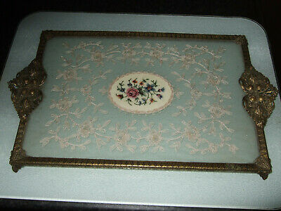 £50 • Buy Vintage Filligree Brass And Petit Point Dressing Table Tray