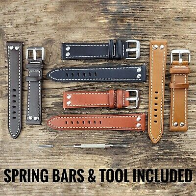 £11.95 • Buy Luxury Calf Leather Rivet Stud Pilot Watch Strap Band In 18 20 22 24mm