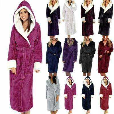 AU31.59 • Buy Ladies Dressing Gown Hooded Fleece Nightie Comfy Lined Fluffy Robe Soft Sizes AU
