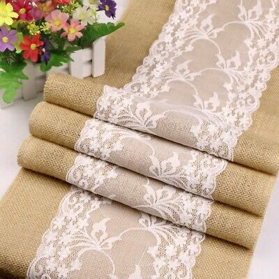 AU21.81 • Buy Rustic Table Runner Burlap Dining Accessory Jute Decoration Tablecloth