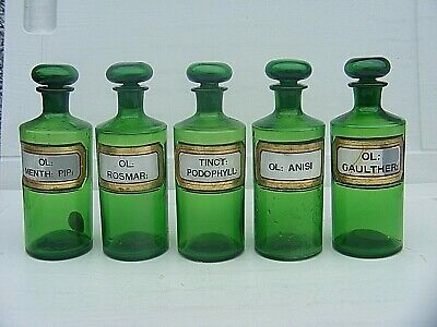 £250 • Buy Antique Apothecary  Bottles Green Set Of Five