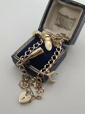 £315 • Buy Vintage 9ct Yellow Gold 6 Charm Curb Link Bracelet