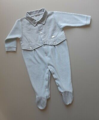 £7.99 • Buy Spanish COCO Newborn Baby Boys Blue Velour Sleepsuit All-in-one  Age 0-3 Months