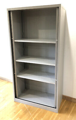 £29 • Buy Bisley Tall Tambour Unit Cupboard - Used -Light Grey - 3 Shelves - Height 2220mm