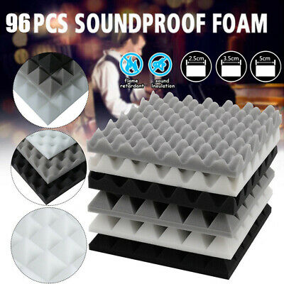 £23.99 • Buy 12/24/48/96 Acoustic Wall Panel Tiles Studio Sound Proofing Insulation Foam Pads