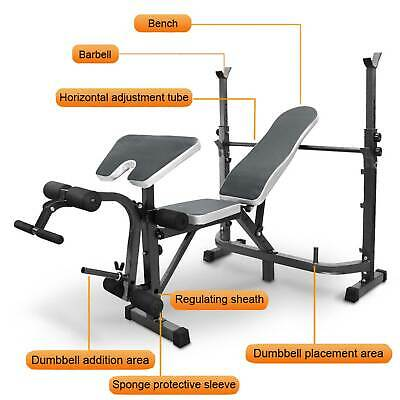 £99.99 • Buy Adjustable Olympic Workout Bench With Squat Rack, Preacher Curl, Weight Storage