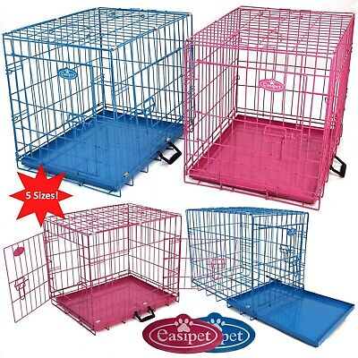 £29.99 • Buy Pink Blue Dog Cage Puppy Metal Training Pet Crate Carrier XS S M L XL Easipet