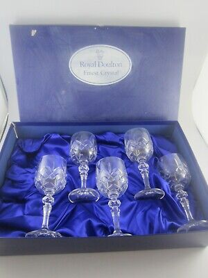 £20 • Buy Royal Doulton Set X 5 Finest Cut Crystal Table Wine Glasses - Boxed Unused
