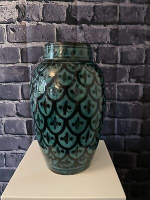 £60 • Buy Large SAFI Vintage Moroccan Pottery Hand Painted Vase Signed, 25cm.