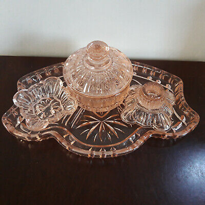 £14 • Buy Vintage Salmon Pink Glass Dressing 4 Piece Dressing Table Set With Tray,