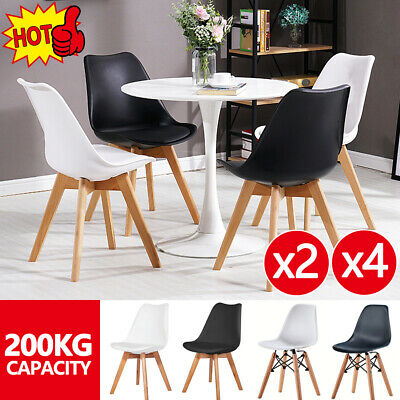 AU92 • Buy 4x Dining Chairs Kitchen Table Chair Lounge Room Retro Padded Seat Black PU Pad